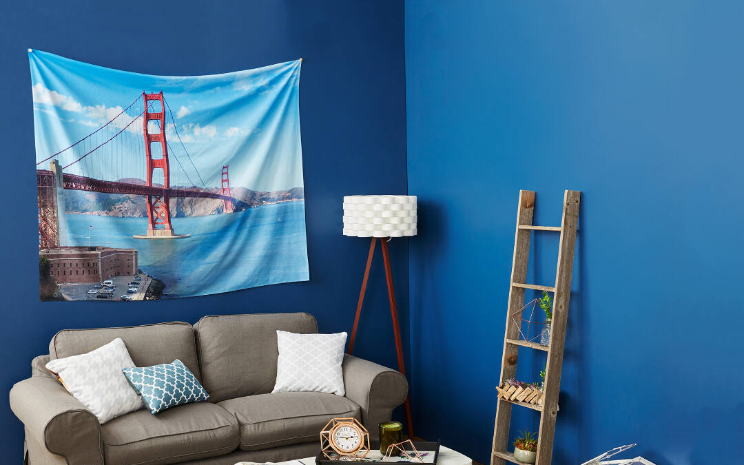 Set the right mood in a room with an elegant pattern printed on a wall tapestry. Add life to a small room by covering a wall with a colorful, cheerful image that makes you happy. Use our lightweight wall tapestries to jazz up walls you can't drill holes into, like a dorm room or apartment.
