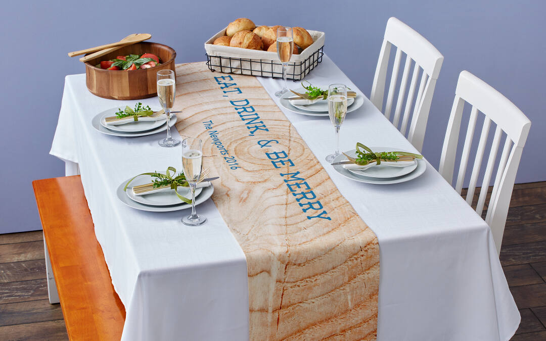 Make your next dinner party even better with a custom table runner from Collage.com. High-resolution direct-to-garment printing ensures your table runner will look amazing. Make it your own with your favorite photos, monograms, or patterns.