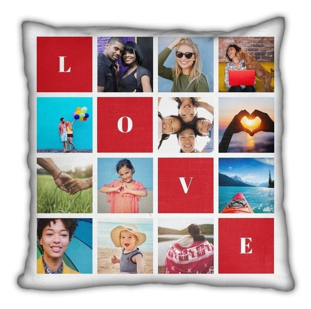 love 9 blocks throw pillow