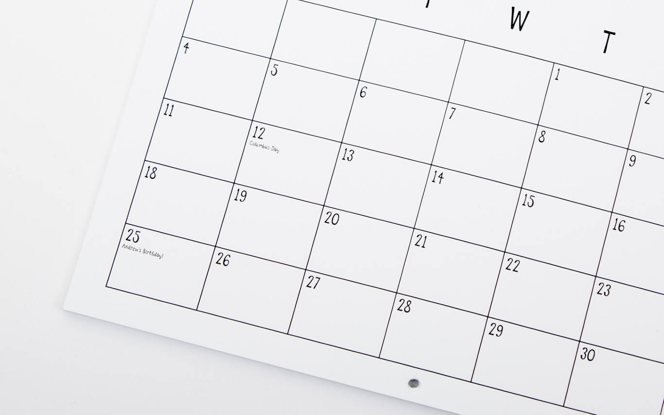 Add custom holidays to your personalized calendar
