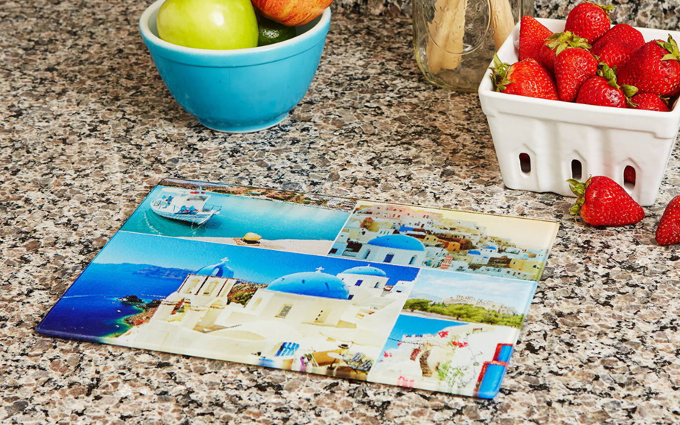 Made out of strong tempered glass, your design appears in sharp detail under the cutting board's surface. We include clear nonslip bumpers for the bottom of your personalized cutting board. Our custom cutting boards come in two sizes: 8″×12″ and 11″×15″.