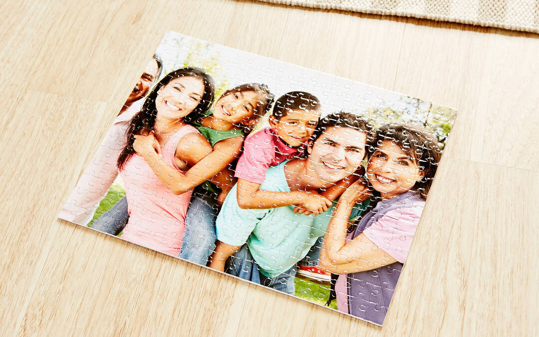 These premium puzzles are easy to create with Collage.com's tools. Vibrant printing ensures your photos will really stand out. And, since you control the design and how many pieces are in each puzzle, it's as easy or as hard as you like. Each puzzle comes with a customized storage box including your design printed on top.