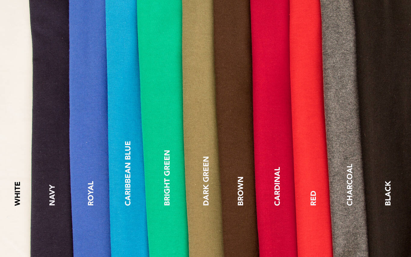Pick the perfect color for your T-shirt. Our basic T-shirt comes in white, but we offer black, cardinal red, navy blue, military green, red, royal blue, brown, charcoal and kelly green for a small additional charge. XXL and XXXL sizes available for an additional charge at checkout.