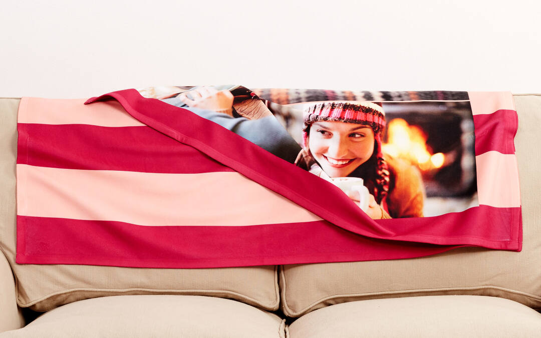 Two sided printing is available for blankets and pillows for an additional fee upon redemption.