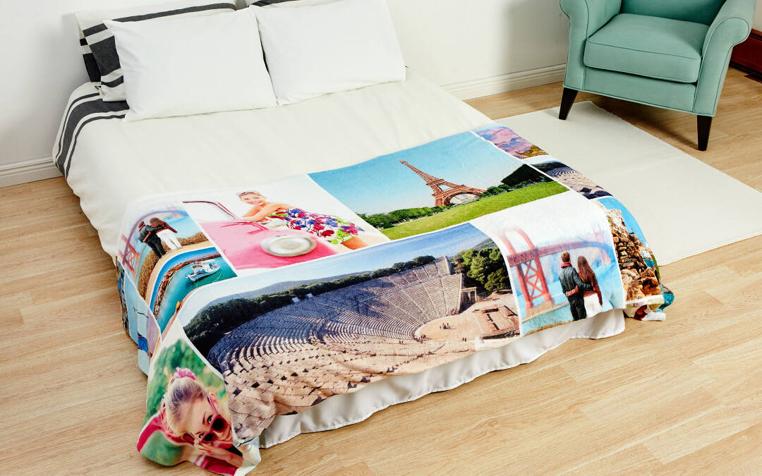 We recommend using between 10-40 photos for best results on your blanket, and 1-20 photos for best results on your pillow. That said, every pillow and blanket is printed to order, so you can use however many photos you like. You can add photos from your phone, computer, Facebook, and Instagram. We also have tools to add titles and word art.