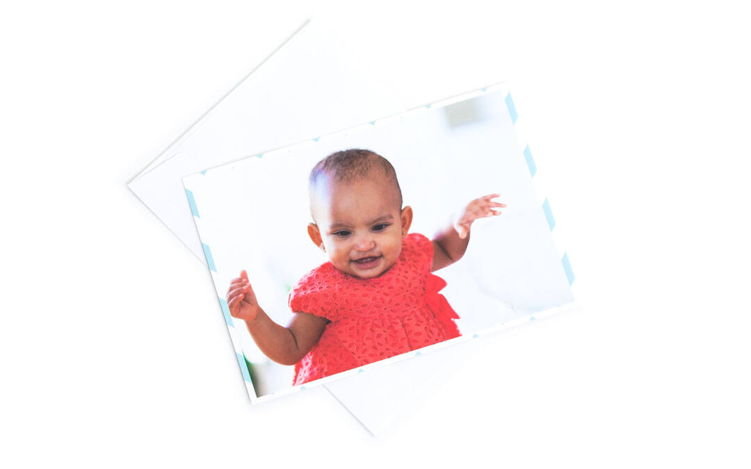 Our matte paper cards are flat for easy display on the fridge. Full-color printing is available on the front, with an optional text message on the back. Our matte paper cards are printed on high quality 120 lb stock for a premium look and feel.