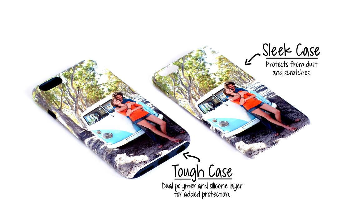 Our sleek iPhone case protects your phone from most scratches with a lightweight polymer shell with a glossy finish. Our custom tough iPhone case offers more protection with dual layers of polymer and silicone. Both cases include a raised edge around the screen to protect it when placed face down. Our iPhone 5 cases also fit the iPhone SE. These cases do not fit Apple's upcoming iPhone X.