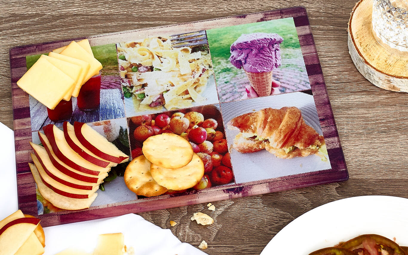 Add style and personality to any kitchen with a personalized cutting board. It's perfect for use as a cheese board, or for holiday cocktails and entertaining. Our personalized cutting boards are easy to customize with photos from your phone, computer, Facebook, or Instagram.