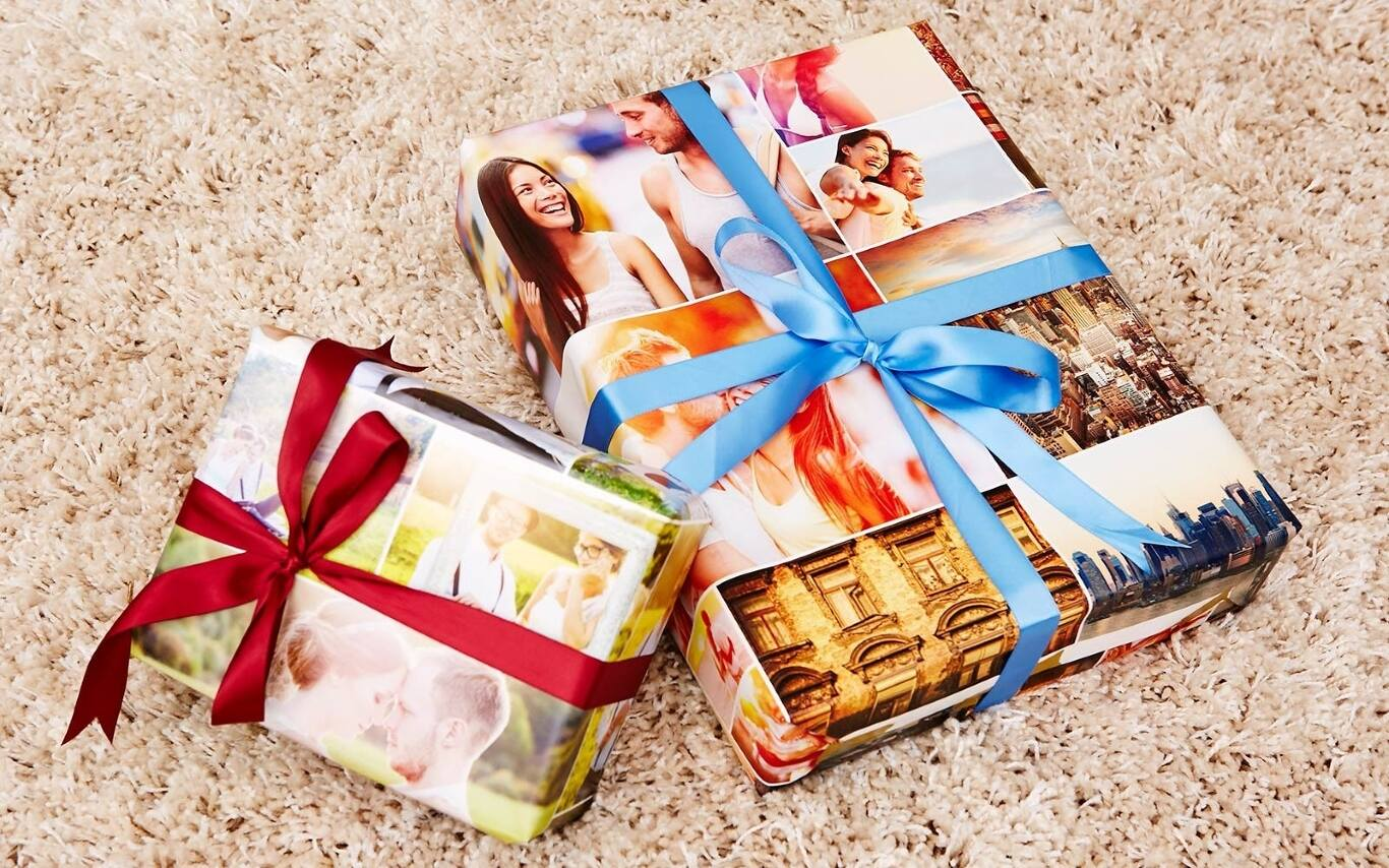 Our custom wrapping paper comes in standard 19-inch-wide 6-foot and jumbo 18-foot rolls. Your design will repeat every 22 inches on each roll, printed edge to edge. A grid printed on the back makes wrapping easy. Our photo wrapping paper is printed to order in Daytona Beach, Florida.