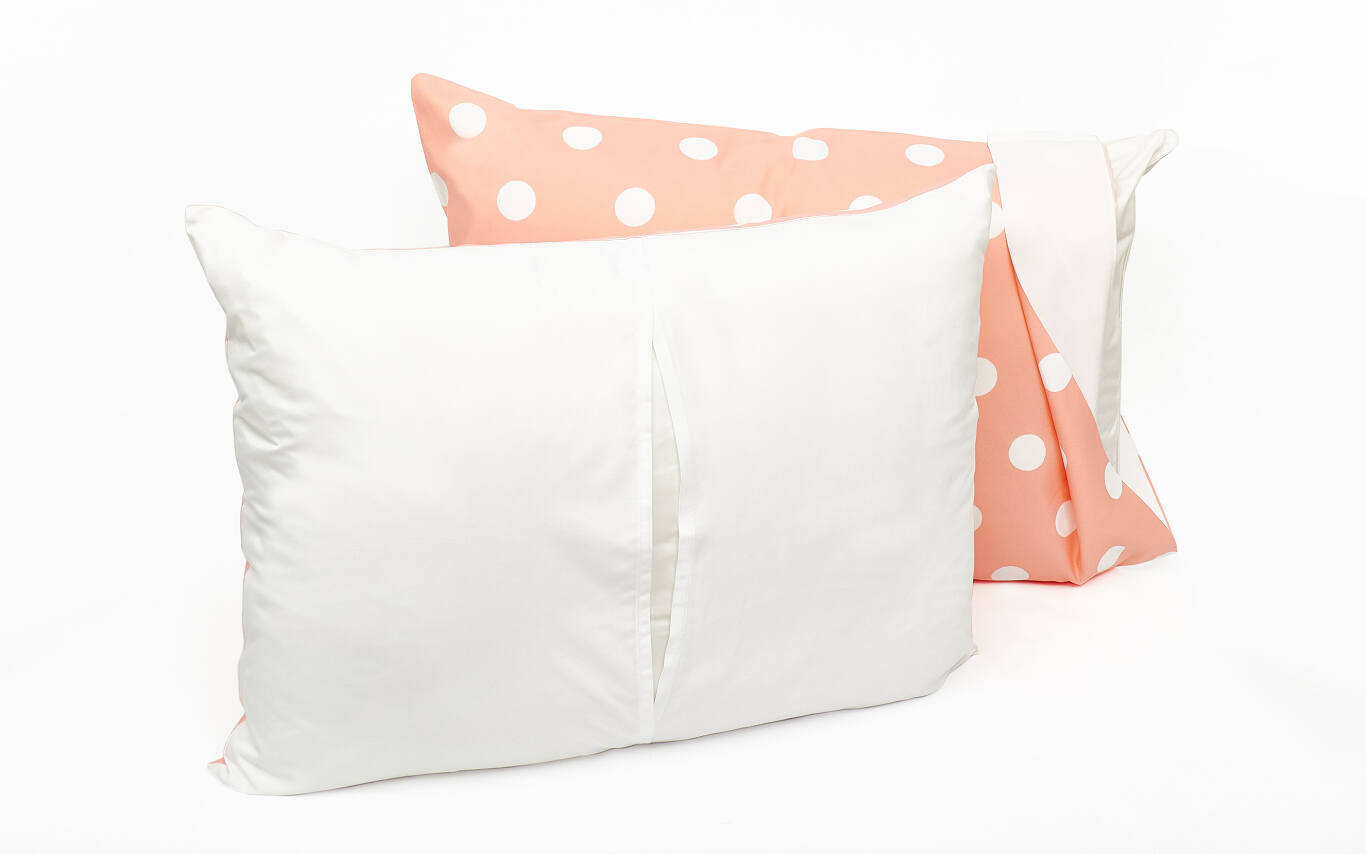 We offer a pillowcase and sham in our traditional lightweight fabric with printing on the front, and a white backing. The pillowcase features a slit on the side, while the sham has a slit in the center of the back. The sham fits your pillow snugly, with no extra fabric along the edges.