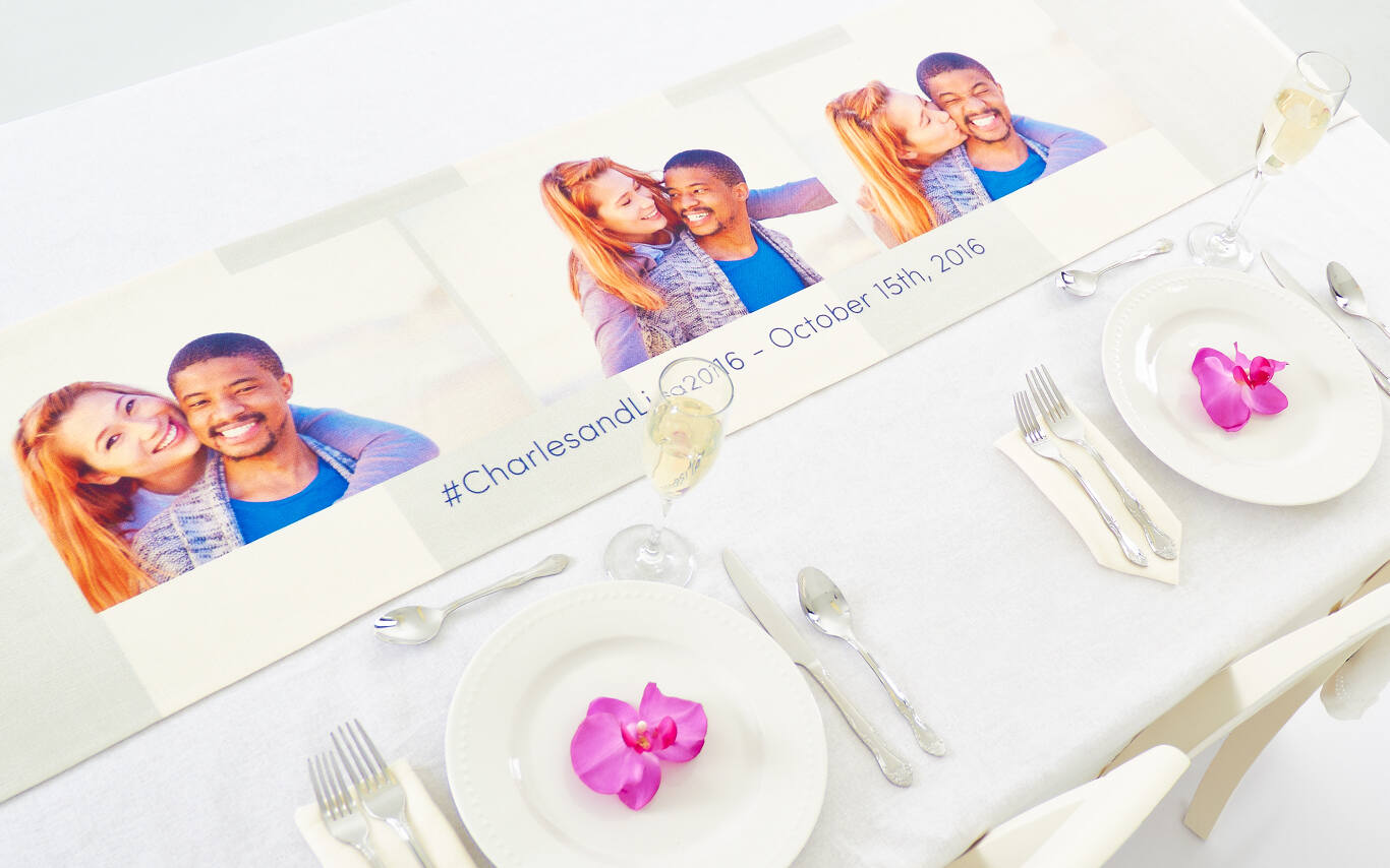 We recommend using between 1-10 photos for best results, but every table runner is totally customized so you can use as many or as few photos as you like. You can add photos from your phone, computer, Facebook, and Instagram. We also have tools to add text and word art.